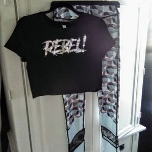 REBEL! ATHLETIC workout/yoga PANTS/LEGGINGS + TOP